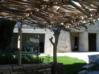 driftwood pergola in the south of france. Black Bedroom Furniture Sets. Home Design Ideas