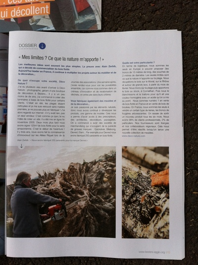 Le journal de la cci de b ziers parle de d co nature for Bois flotte beziers