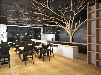 arbre en bois flott dans un restaurant. Black Bedroom Furniture Sets. Home Design Ideas