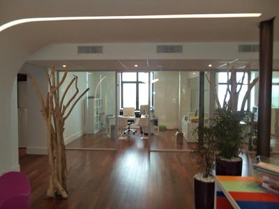 Décoration avec des bois flotté pour les bureaux de Ametis à Marseille