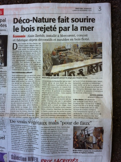 Interview de midi libre sur l 39 entreprise d co nature for Bois flotte beziers