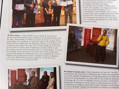 Parution dans le journal de la CCI de Béziers pour le trophée du prix de la TPE