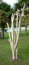 Sculpture de branches de bois flotté montées sur socle.