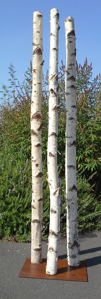 Column of 3 trunks of birchwood on a base (2m high and 10cm diameter)