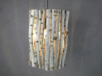 Chandelier made of birchwood branches