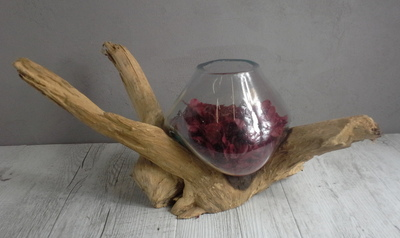 Vase verre soufflé et bois flotté ref 3