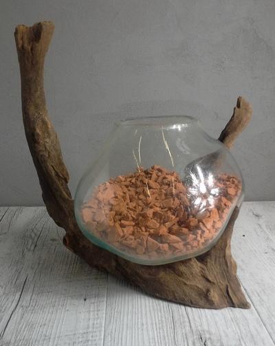 Vase verre souffl et bois flott ref 4 - Vase en bois ...