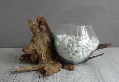 Vase en verre soufflé et en bois flotté ref 2