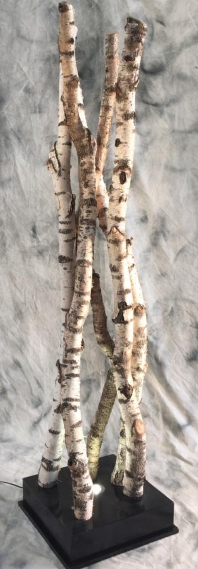 Colonne de troncs de bouleaux sur socle éclairé