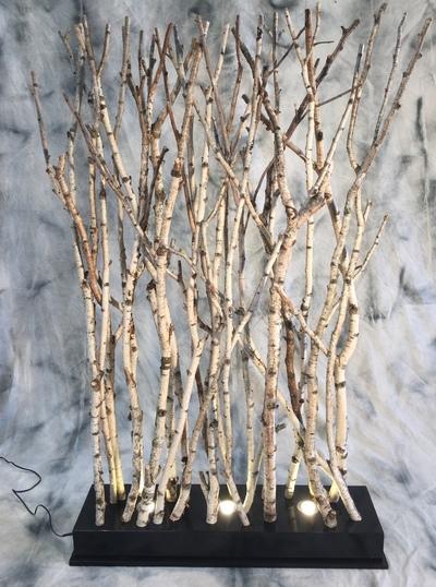 Paravent avec des branches de bouleaux éclairées