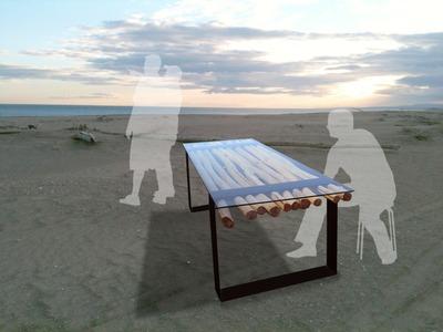 "table en bois flotté ""Odyssée"""