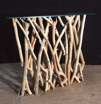 Console table with driftwood branches