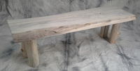 Driftwood plank bench